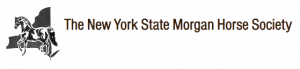 A photo of a black logo for the New York State Morgan Horse Society with a black horse and black new york state symbol