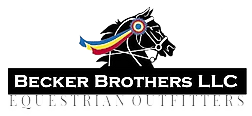 A photo of a black horse with red,yellow and blue ribbon on the horses head for the Becker Brothers LLC logo