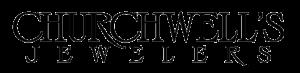 A photo of Churchwell's Jewelers logo with black writing