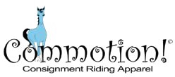A photo of Commotion consignment shop logo with a blue horse and black writing
