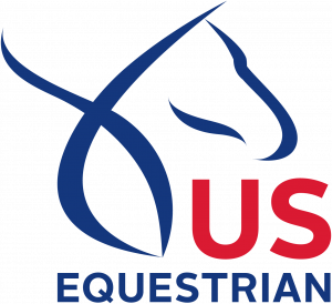 A photo of a blue horse and red writing for US Equestrian