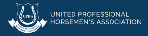 A photo of a blue box with white writing for United Professional Horsemen's Association with a horseshoe next to it