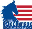 A photo of a blue horse with red stripes in the background for American Saddlebred Horse Association logo